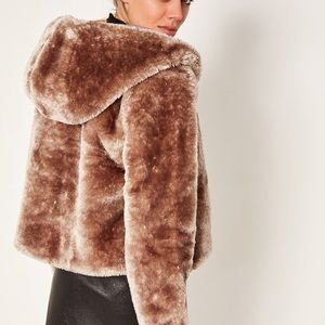 Missguided brown faux fur coat with hood